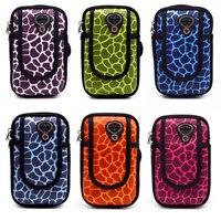 Camoflageユニバーサルランニングケースヒョウプリント携帯電話バッグ手首腕章スポーツ屋外サイクリング財布ポーチのためのiphone