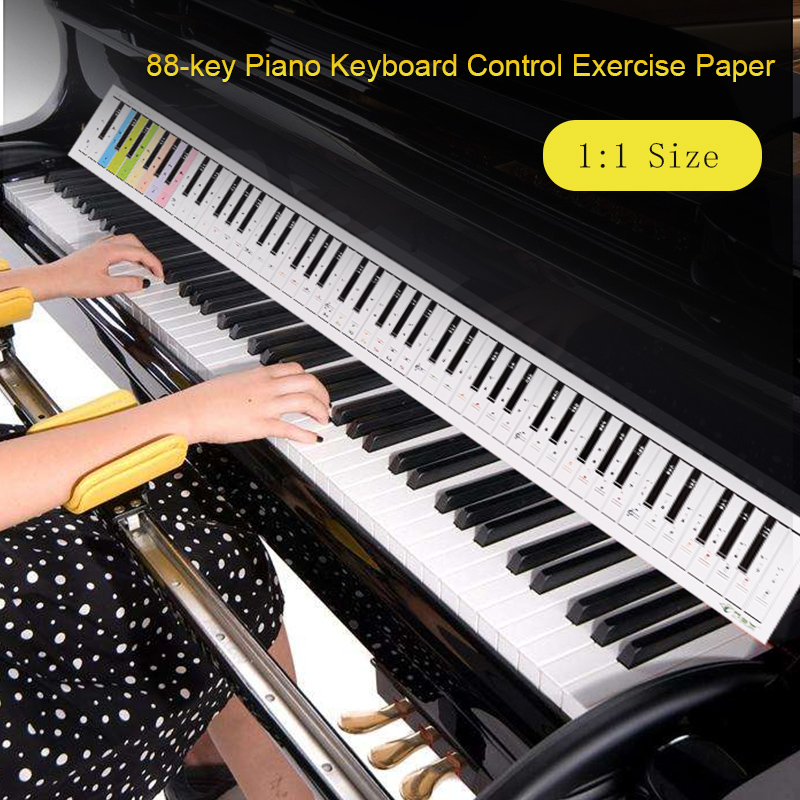 Piano Keyboard Paper 88 keys Electronic Keyboard Piano Stave Reference Paper Map Colorful Double Sided For Beginner Accessories