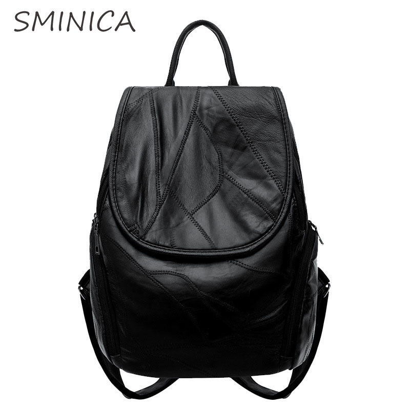 High quality soft pu leather backpack women popular fashion new 2018 winter Casual Ladies back pack youth Female bagpack black fashion women backpack new youth leather