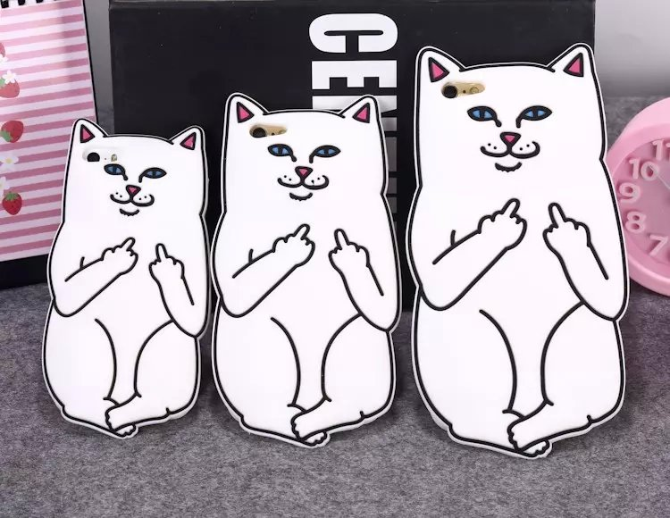 Lovely Cute 3D Cartoon Ripndipp Lord Nermal Pocket Cat Soft Silicone Cover Case For iPhone 4 4S