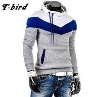 T Bird 2017 New Brand Hoodies Men Sweatshirt Male Stitching Hooded Hip Hop Long Sleeve Sweatshirt