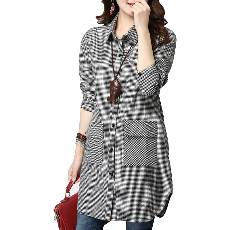 2016 New Women Plus Size Grid Cotton Shirt Loose Blouses Long Sleeve Slim Women  Blouse Bodysuit