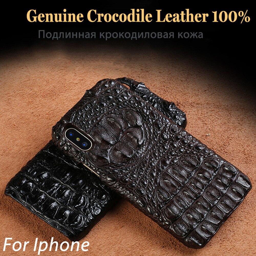 Véritable Réel Crocodile En Cuir Téléphone Cas pour iPhone XS Max 3D Alligator Peau de Couverture Arrière Pour iPhone XR Cas iPhone XS iPhone X