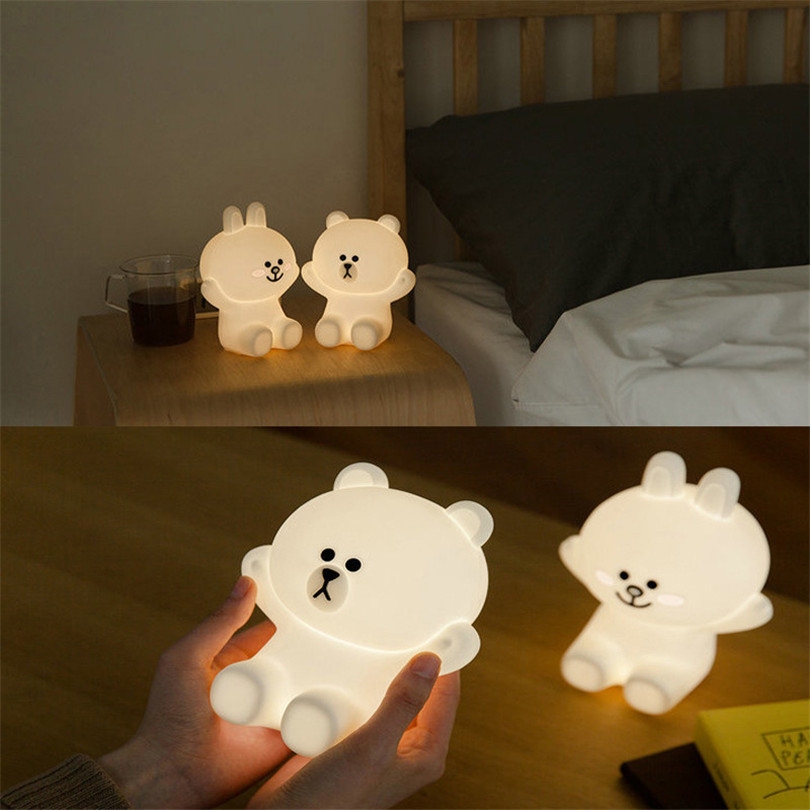 Trecaan Rechargeable USB night light led bear rabbit silicon PVC dimmable for children Xmas holiday atmosphere decoration pinup rockabilly special retro atmosphere beautiful generous banquet hoop rabbit ear