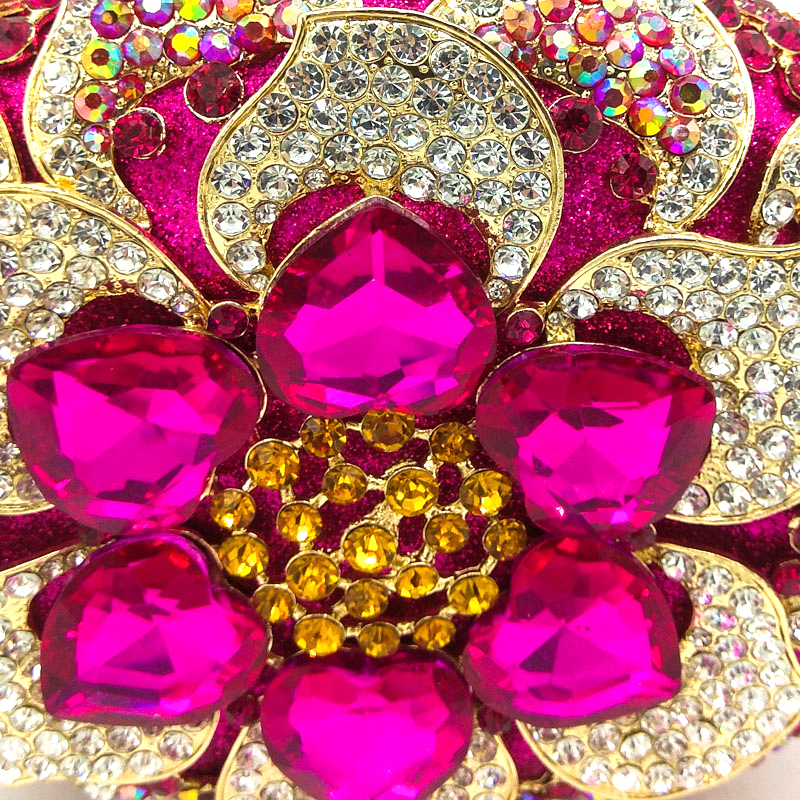 Image 3 - Boutique De FGG Fuchsia Women Crystal Clutch Flower Evening Purse  Minaudiere Handbag Wedding Party Bridal Chain Shoulder Bagchain  shoulder bagshoulder bagsevening purse