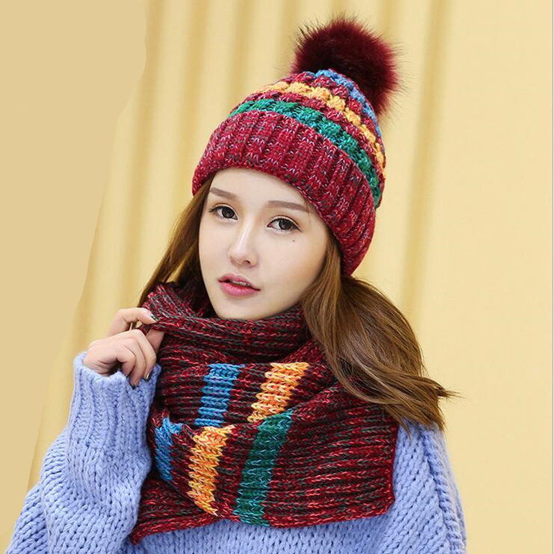 5 colors 2 pieces Hat and Scarf Women Winter Long Knit Fur Scarf Hat Scarf winter cashmere knitting wool cap warm female leisure skullies 2017 new arrival hedging hat female autumn and winter days wool cap influx of men and women scarf scarf hat 1866729