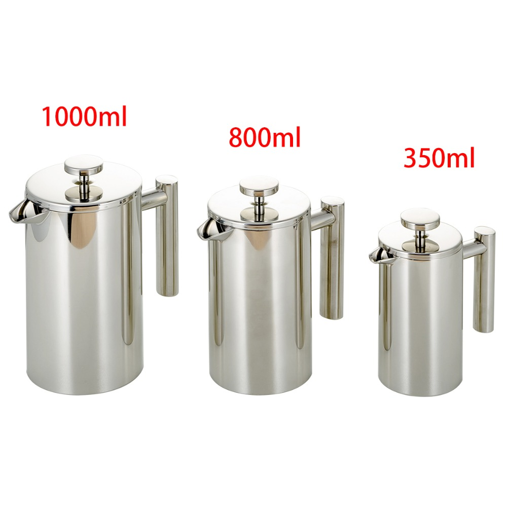 350ml/800ml/1000ml Stainless Steel French Press Coffee Maker Double-layer Coffee Pot French Presses Filter Coffeeware