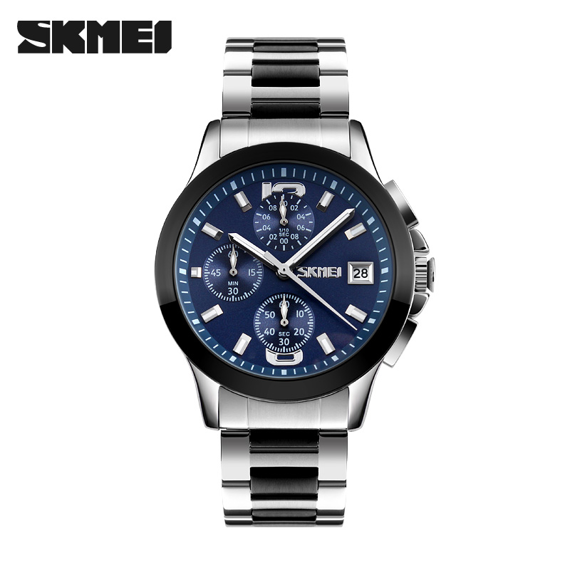 SKMEI Mens Watches Fashion Men Full Steel Waterproof Quartz Watch Man Six-pin Business Casual Wristwatches Chronograph Stopwatch 2016 biden brand watches men quartz business fashion casual watch full steel date 30m waterproof wristwatches sports military wa