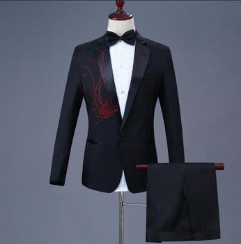 Chorus Paste drill Butterfly patter suits men blazer boys prom mariage suits fashion slim masculino latest coat pant designs