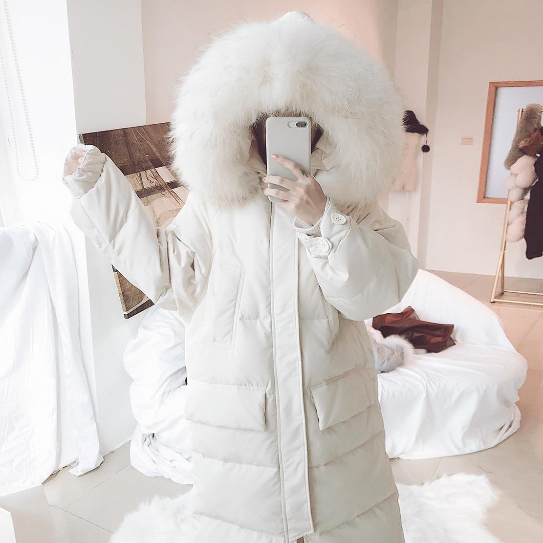 Manteau Laveur Corée De Oversize Raton À Des Capuche Veste By9129 Long creamy white Bas Vers Datachable Black 2018 Fourrure Le Grand Hiver Femme D'hiver Femmes wZTY8v