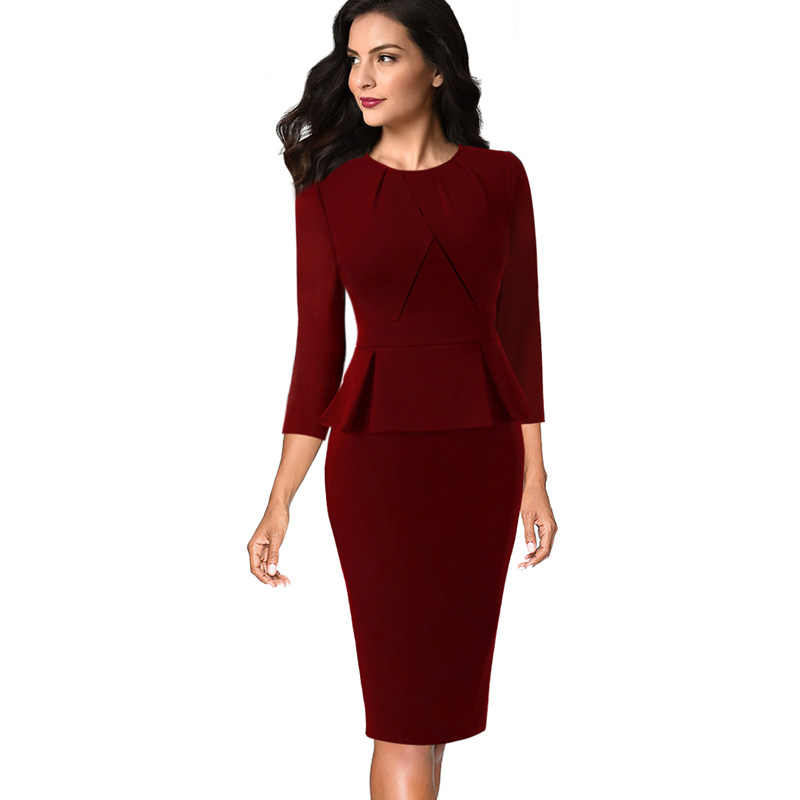 Vfemage Womens Vintage Elegant Pleated Neck Ruffle Peplum Zipper Wear to Work Office Business Vestidos Bodycon Sheath Dress 1515