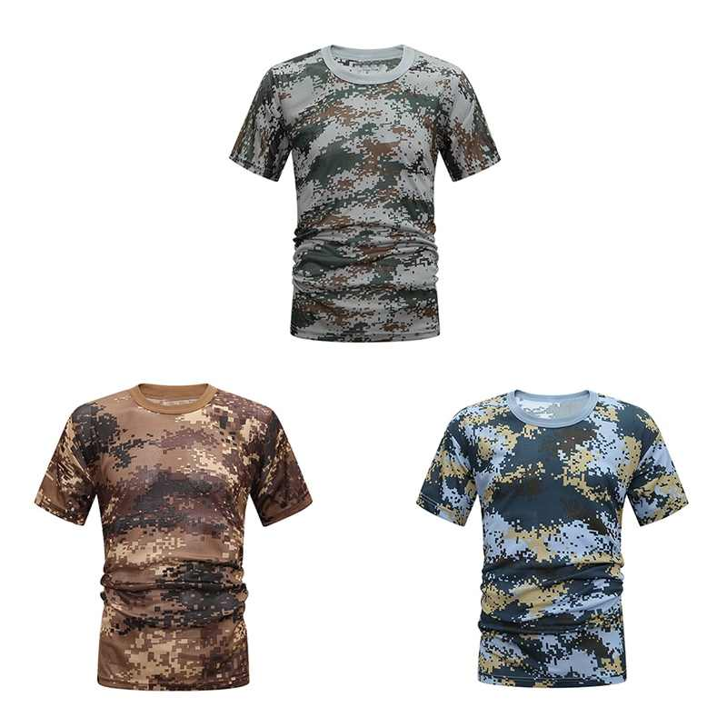 Short Sleeve T-Shirt Women Men Unisex O Neck Breathable Quick Drying Loose Casual Tee Tops Camouflage Apparel Quick Drying