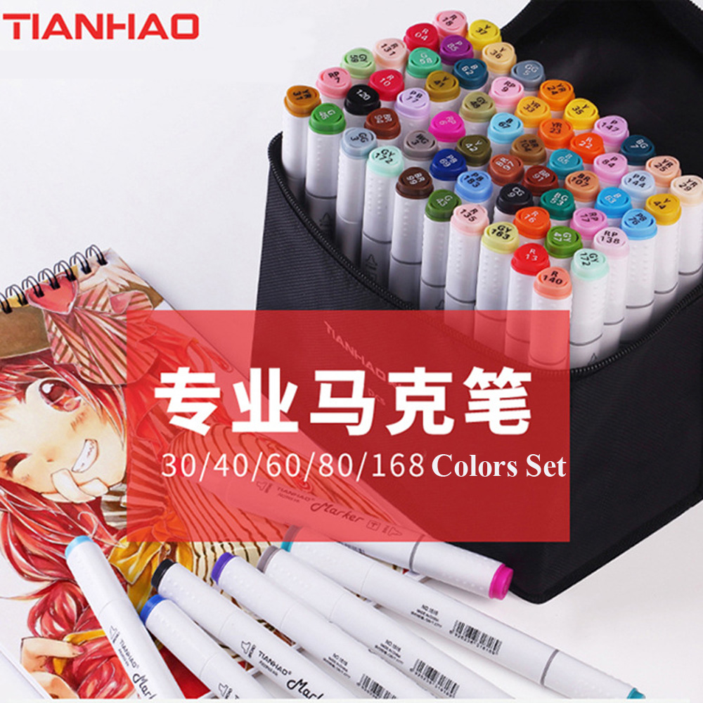 30/40/60/80/168 Colors Pen Marker Pen Set Dual Head Alcohol Based Sketch Markers Brush Pen for Drawing Manga Animation Design цена
