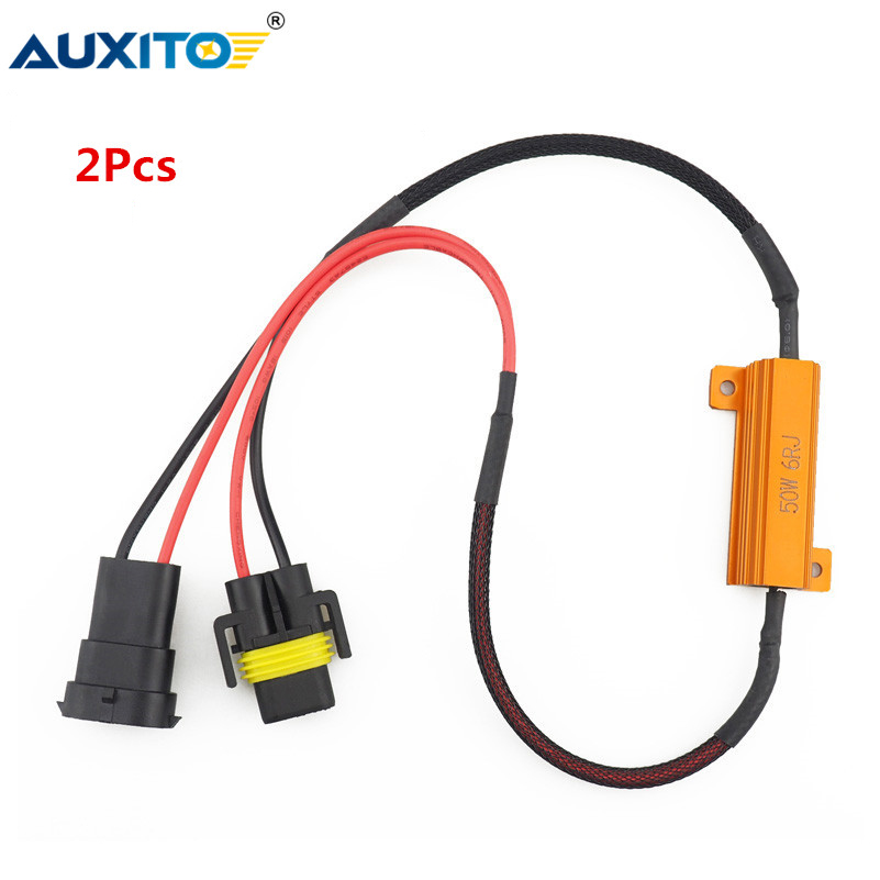 2Pcs 9005/HB3 9006/HB4 H8 H11 LED Bulb Decoder Resistor 50W Canbus Error Canceller Wire Harness Adapter For Car Fog Lamp Light