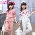 Crianças primavera 2016 novos grandes meninas virgens terno dos esportes do bebê outono dois-peça ocasional longo-roupas de mangas compridas para meninas 3-12 anos de idade