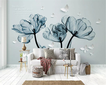 beibehang Thicken fashion decorative painting stereo 3d wallpaper 3D fantasy blue flowers TV background wall papers home decor