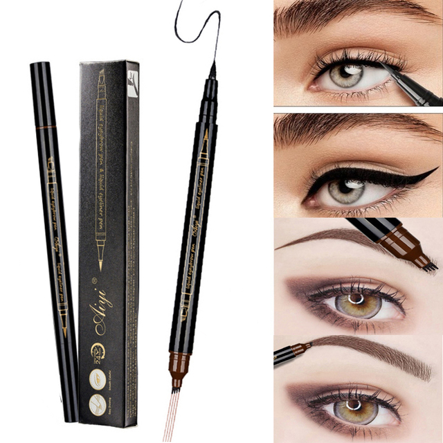Eyebrow Liquid Pencil Microblading Double Head 4 Tips Eyes Make Up Tint Henna Easy to Wear Brow Enhancer 2 in 1 Eye Liner Pen 2
