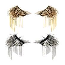 1Pair Metal Tassel Epaulet Gothic Punk Long Rivet Stud Spike Shoulder Board Mark brooches for women broche femme bijoux 2019 new цена 2017