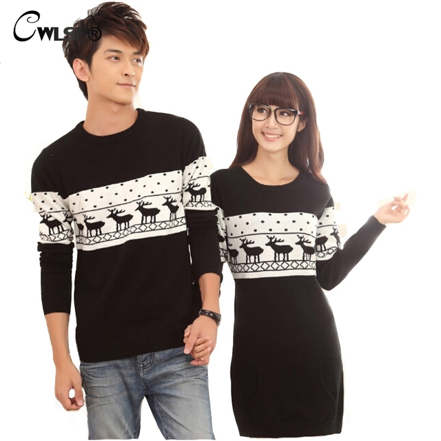 Christmas Deer Winter Lover Couples Sweater knitting Top Dress Women Man Pullover pull epaules nues manche longue XXL QA1537