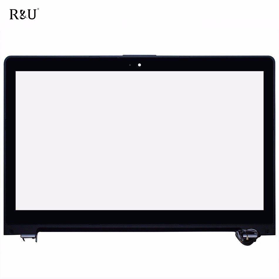 R&U Touch Screen Digitizer +LCD Display Sensor Glass Replacement with frame For 15.6 Asus VivoBook S550 S550C S550CA