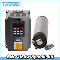 CNC Router Spindle Motor 1.5kw kit Water Cooled Machine Tool ER11 65mm Spindle + 220v/1.5kw Inverter Variable Frequency Drive