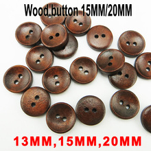 100PCS 13MM/15MM/20MM Deep coffee painting wooden buttons coat boots sewing clothes accessories MCB-046
