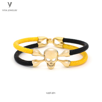 Yellow&Black Stingray Leather Bracelets For Men DIY Handmade Stingray Leather Men Bracelet For Boyfriend With Luxury Gift Box