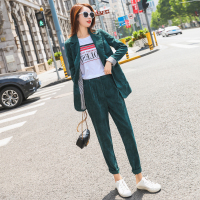 Gold velvet Pant Suits two piece set Women Casual Office Business Corduroy Suits Formal Work Wear Sets Uniform Styles Elegant