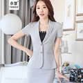 2 Pieces Suit New style summer work women's skirt suits set fashion female business short-sleeve blazer jacket & skirt