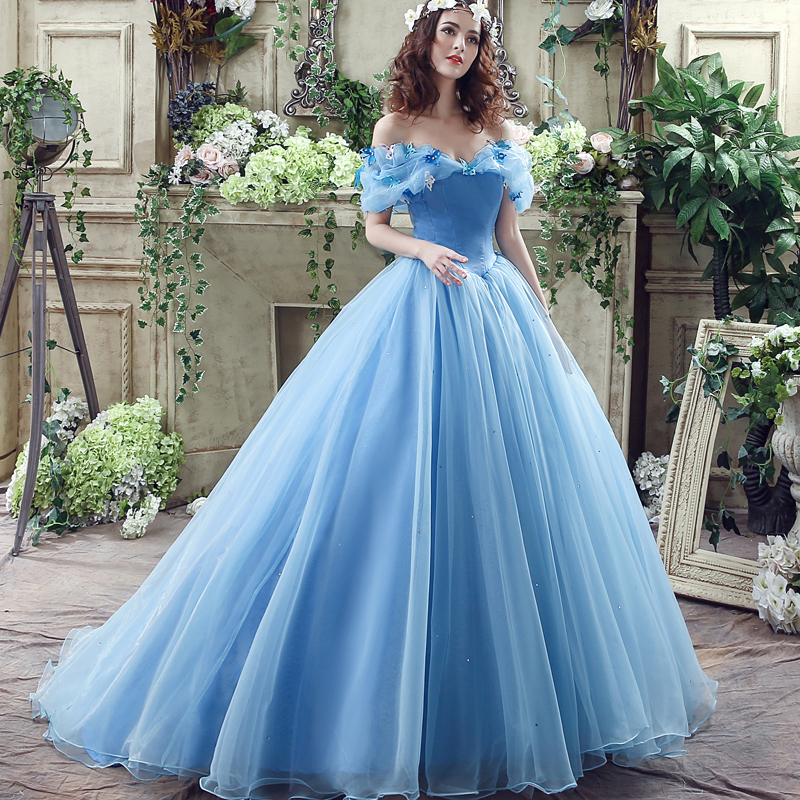 Online get cheap blue wedding dress for Cheap princess wedding dress