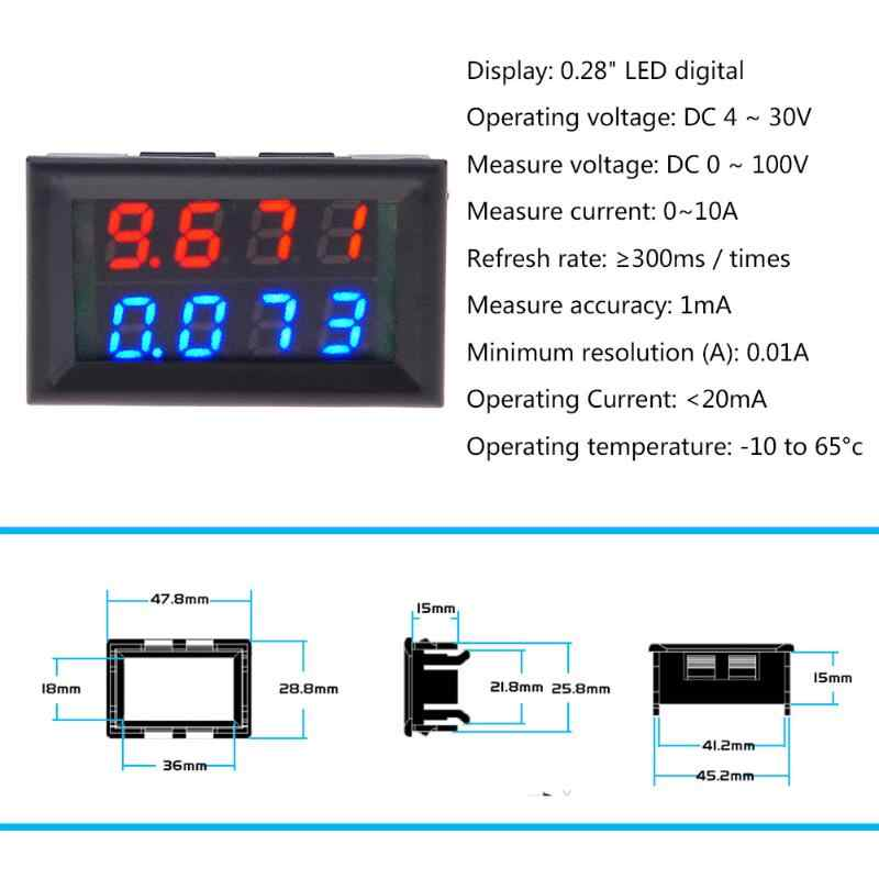 0 28inch 2 Wires Led Digital Voltmeter Ammeter Dc 0 100v Led Voltage Current Meter Four Digits Ampere Panel Meter Volt Amp Gauge Dc 0 100v Volt Ampled Digital Voltmeter Aliexpress
