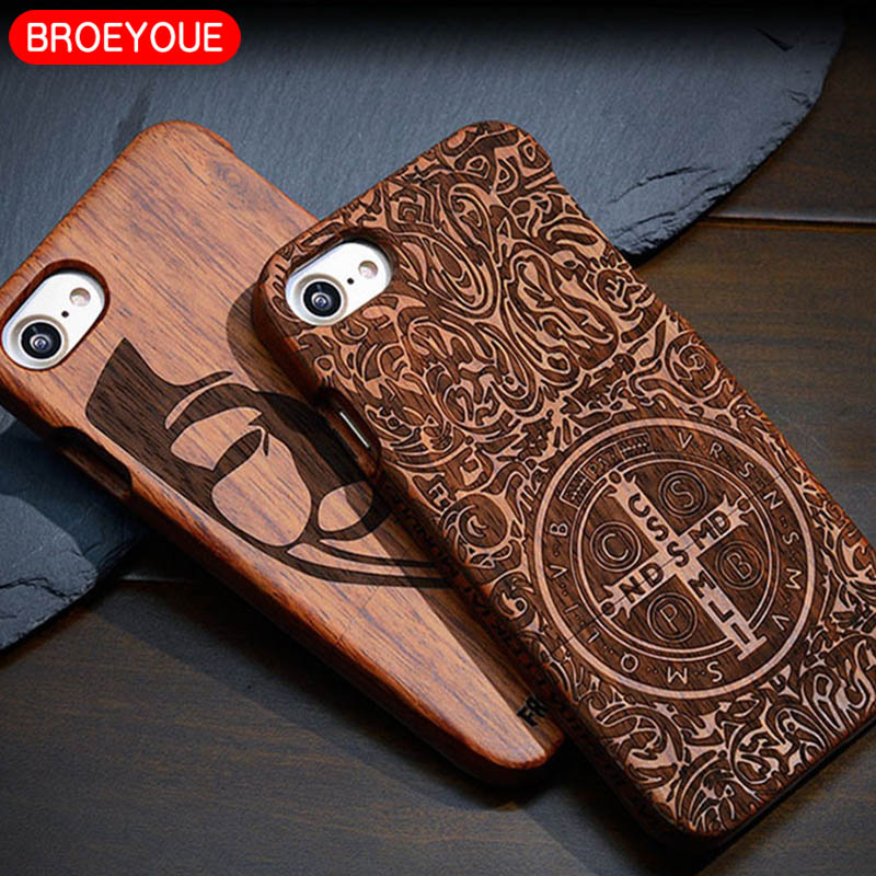 BROEYOUE For iPhone 6 6S 7 8 Plus X Case 100% Natural Wood Carvings Case For iPhone 5 5S SE Protective Mobile Phone Cases Cover