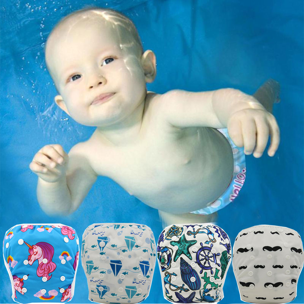 Ohbabyka Washable Baby Swim Nappies Reusable Cloth Diaper Cover Cute Infant Newborn Swimsuit Kids Swimwear Baby Swimming Diapers