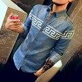 C405 100% Хлопок Мужские Рубашки С Длинным Рукавом 2016 Джинсовые Рубашки Мужчины М-5XL Мужские Рубашки Платья Сорочку Homme Camisa Джинсы Masculina