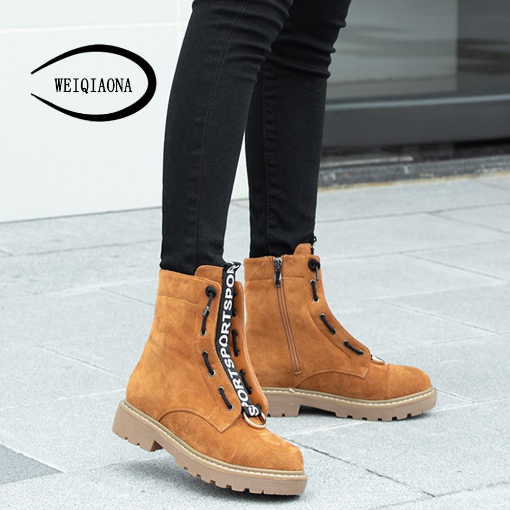 Casual Yellow Dames Chaussures Noir New Femmes Troupeau Courtes Brand 2018 De Weiqiaona Hiver Tirette Design Bottes À Neige Mode Bas Talons drak UqznY1