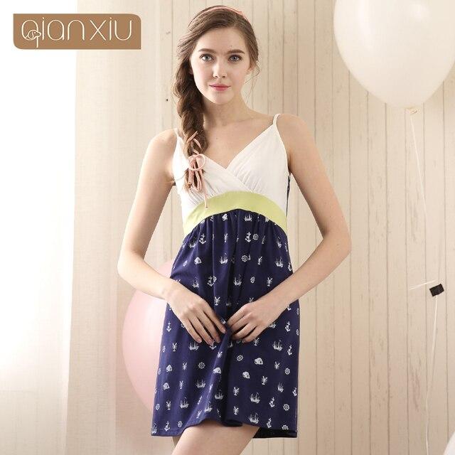 2016 Real New Arrival Gecelik Qianxiu Cotton Sleepshirts Summer Sleeveless Sleepwear V-neck One-piece Condole Belt Nightgown