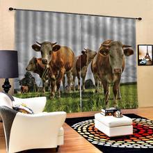 3D занавеска Роскошная затемненная занавеска для окна для гостиной занавески для коровы