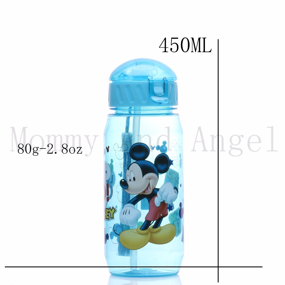 HOT SALE Disne Minnie/Mickey Mouse Kids Drinking Bottle Folding Straw School Childrens Cup Sipper Bottle Feeding Children Gift