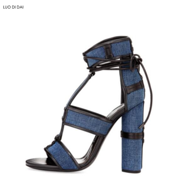 2018 new women round heels party shoes summer gladiator sandals denim sandals lace up high heels open toe white sandals luxury women shoes high heel sandals lace up heels open toe crystal embellishment laides party nude sandals fashion footwear