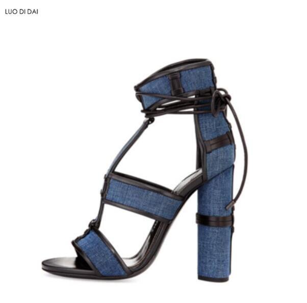 f6205cffba5 Soirée De bleu Noir blanc 2019 Chaussures orange Talons Hauts Rond Sandales  Lacets À Ouvert Nouveau Denim Spartiates ...