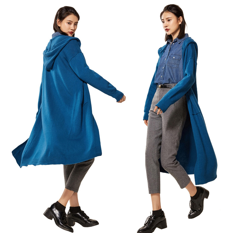 Trench-Coat Hooded Long-Outerwea Korean-Style Autumn Winter Women Casual Cashmere