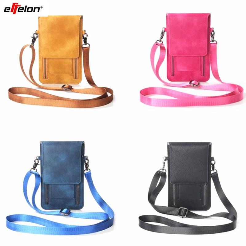 Effelon Universal PU Leather Phone Bag Shoulder Pocket Wallet Pouch Case Neck Strap For Samsung S8 Plus S8 for iPhone 7 6s plus Сумка