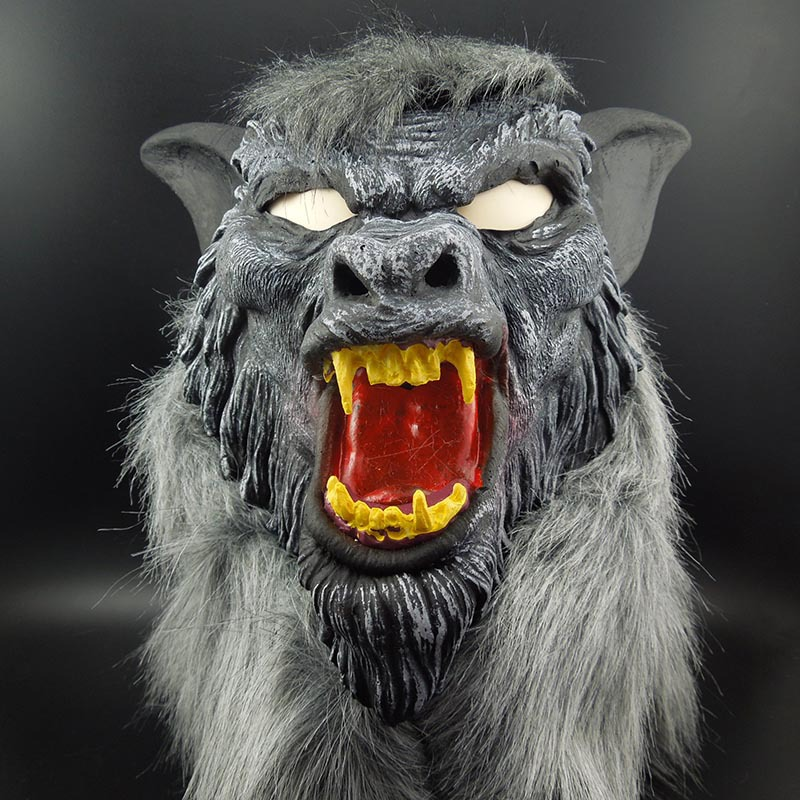 The Devil <font><b>Terror</b></font> Halloween Mask Masquerade Mask Props Full Head Wolf Headgear Teeth Party Toys Movie Theme Props Supply image