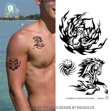 Waterproof Tattoo Stickers Paper Black Tiger Horse Skull Pattern Large Tattoos Can Be Customized For Powerful Man Taty