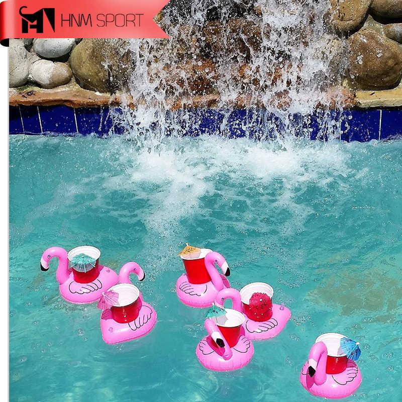 6 adet/grup Mini Sevimli Fanny Oyuncaklar Flamingo Yüzen Şişme Içecek kola kutusunda oyuncak araba Tutucu Yüzme Havuzu Banyo Plaj Parti Çocuklar Hediyeler
