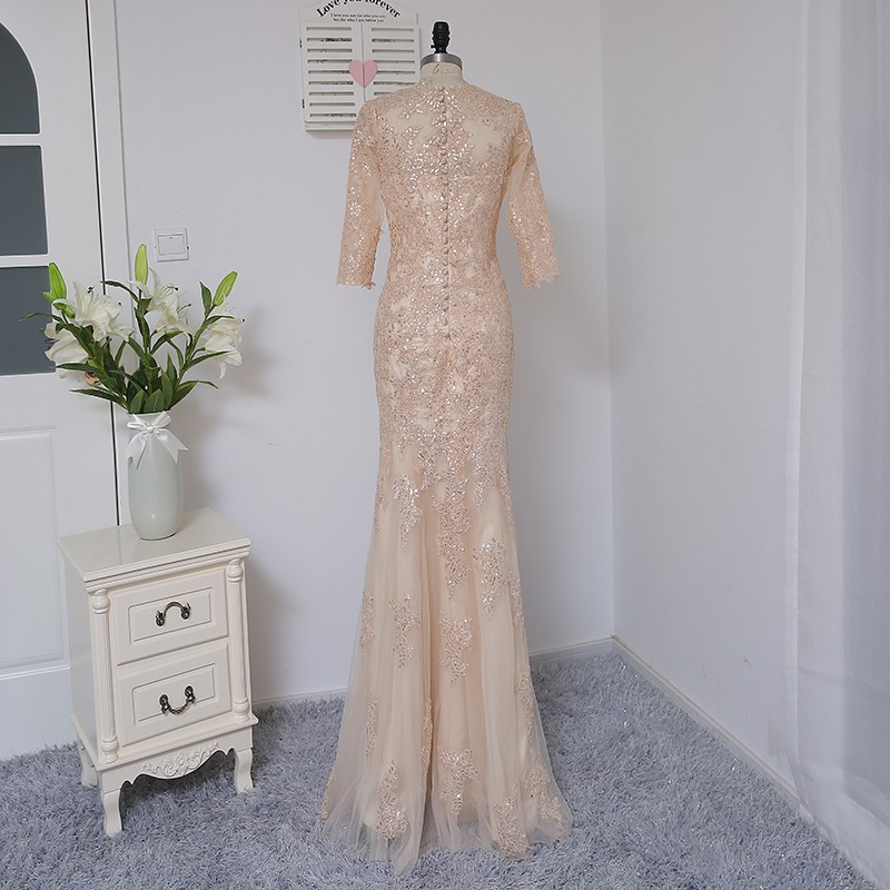 HVVLF Champagne Evening Dresses 2018 Mermaid Half Sleeves Tulle Sequins Elegant Long Evening Gown Prom Dress Prom Gown 4