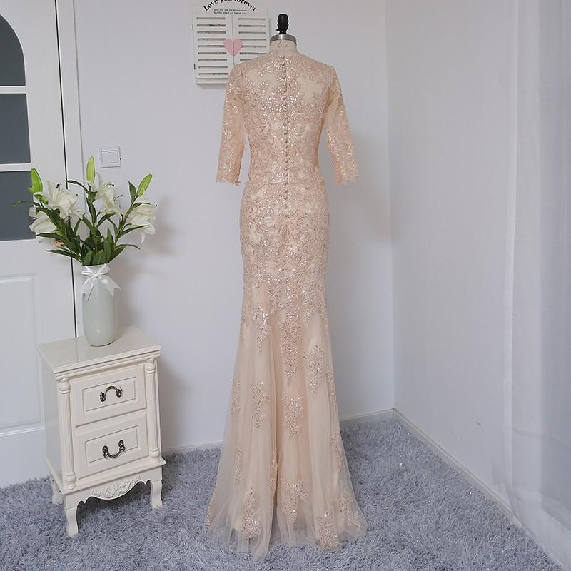 Champagne Mermaid Half Sleeves Tulle Sequins Elegant Long Evening Dress