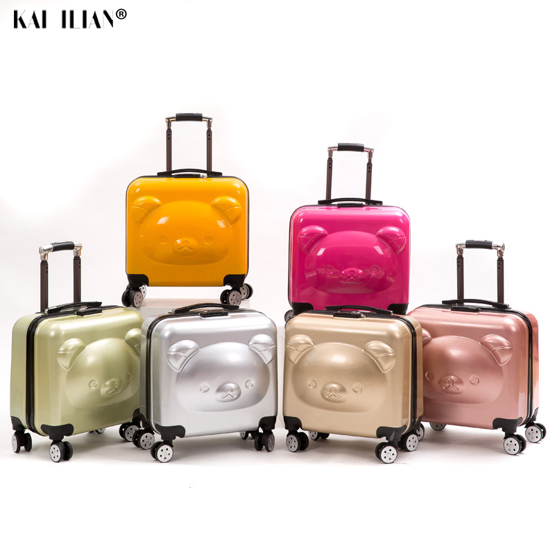 Bear Kid's Travel Trolley Luggage Suitcase Trolley Bag On Wheels Travel Case Children Rolling Suitcase For Boy Girls Cartoon Box