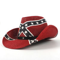 Mistdawn Men Women Fashion Western Style Cowboy Hat Cowgirl Cap Wide Brim Beach Sun Hat Red Color Stars Print Size 58cm