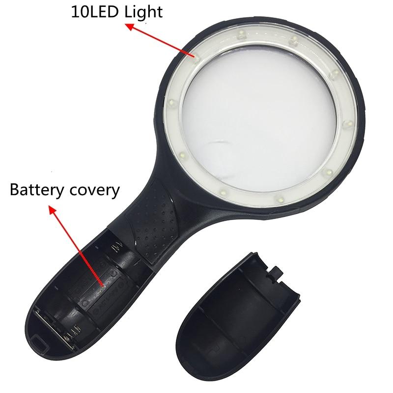 Lente grande de 138 mm de mano Iluminado 1.8x 5x Lupa Lupa Lectura - Instrumentos de medición - foto 3